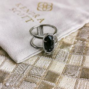 Elyse Ring   Silver   Black Opaque Glass